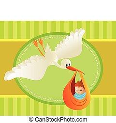 Illustration eines Storchs, der ein Baby aus farbenfrohen Verhältnissen bringt. Toller Text. Perfekt für Karten und Banner.
