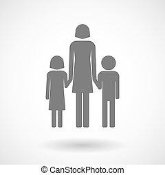 Illustration eines weiblichen Single Eltern-Familien-Piktogramm.