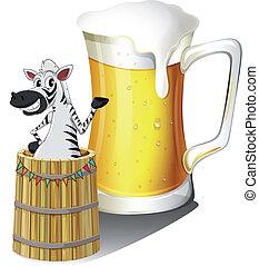 Illustration eines Zebras in einem Holzcontainer mit einem Glas Bier hinten auf einem weißen Hintergrund