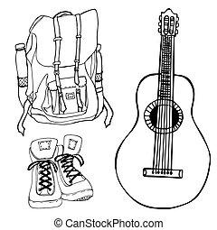 illustration., erwachsene, buch, färbung, rucksack, stiefeln, gitarre, vektor