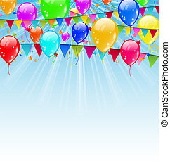Illustration Feiertag Hintergrund mit Geburtstagsflaggen und Konfetti im blauen Himmel - Vektor.