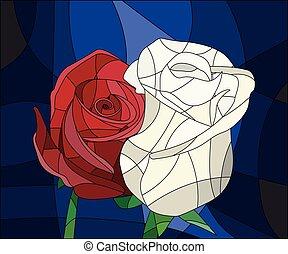 Illustration in Buntglas mit Blumen und Blättern roter Rose auf braunem Hintergrund in einem hellen Rahmen.