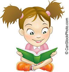 Illustration, junges Mädchen Lesebuch.