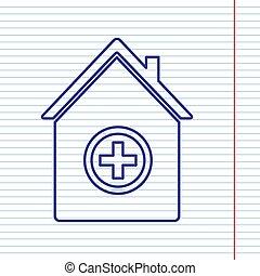 illustration., klinikum, zeichen, papier, notizbuch, field., hintergrund, marine, linie, ikone, rotes , vector.