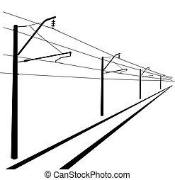 illustration., lines., kontakt, vektor, oben, eisenbahn, wire.