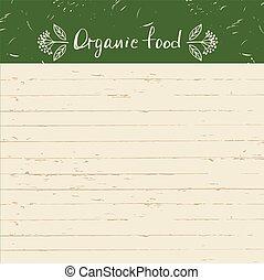 Illustration Logo für ökologische ökologische Naturprodukte auf Holzhintergrund.