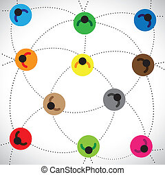 Illustration: Menschen vernetzen & web basierende Gemeinschaft. Diese Grafik enthält farbenfrohe Ikonen von Menschen, die miteinander verbunden sind und Konzepte von Online-Gemeinschaft, Netzwerk, Teamarbeit usw. repräsentieren