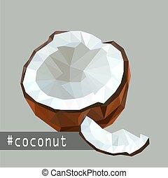 Illustration mit flachen Origami Design von Kokosnussfrucht.