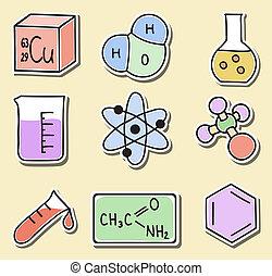 Illustration von Chemie-Ikonen - Aufkleber