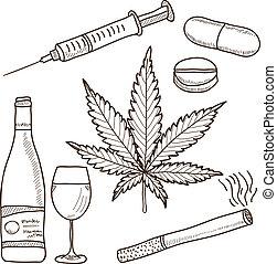 Illustration von Drogen - Marihuana, Alkohol und anderes
