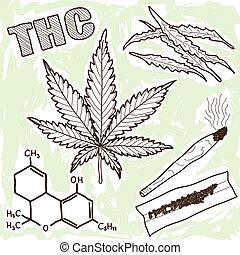 Illustration von Drogen - Marihuana