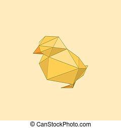 Illustration von flachem Origami-Hühnchen.