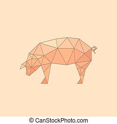 Illustration von flachem Origami-Schwein.