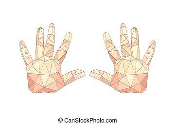 Illustration von flachen Origami-Handhänden.