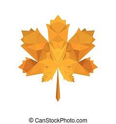 Illustration von flachen Origami Herbstblatt.
