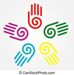 Illustration von Handabdrücken