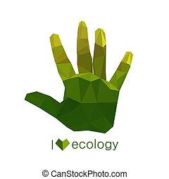 Illustration von origami ökologische grüne Hand.