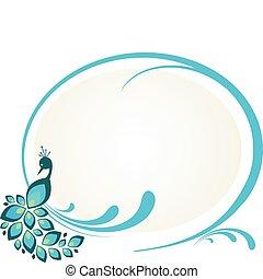 Illustration von Pfau auf dem Blumenrahmen