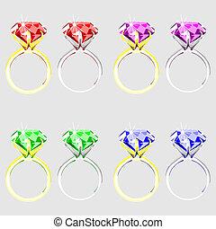 Illustration von Ringen mit Edelsteinen.