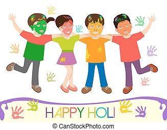 Illustration von schmutzigen Kindern in verschiedenen Farben spielen Holi