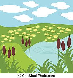 Illustration von See und Gras