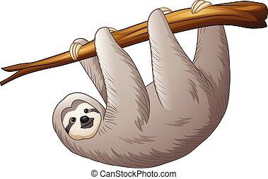 Illustration von Sloth hängen an einem Zweig.