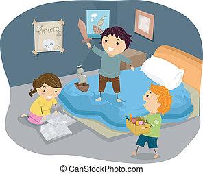 Illustration von Stickman-Kindern, die Piraten im Schlafzimmer spielen