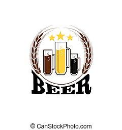 Illustration von Tassen mit Bier.