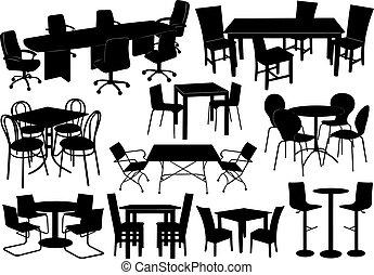 Illustration von Tischen und Stühlen
