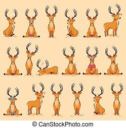 Illustrationen isoliert emoji Charakter Cartoon Deer Sticker Emoticons mit verschiedenen Emotionen für Website.
