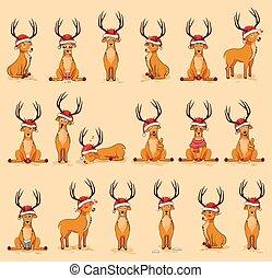 Illustrationen isolierte Emoji Charakter Cartoon Deer Sticker Emoticons mit verschiedenen Emotionen.