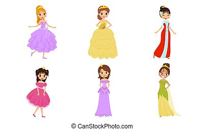 illustrationen, prinzessin, vektor, krone, satz, hübsch, schöne , tragen