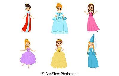 illustrationen, satz, schöne , hübsch, krone, vektor, prinzessin, tragen