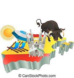 Illustrationen spanischen Touristenattraktionen in Span