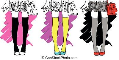 illustrationen, stilvoll, dots., poppig, vektor, satz, rock, mode, zeichnung, beine, m�dchen, polka