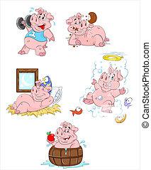 illustrationen, vektor, schwein