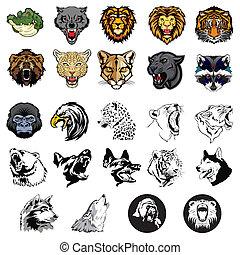 Illustrierte Wildtiere und Hunde.