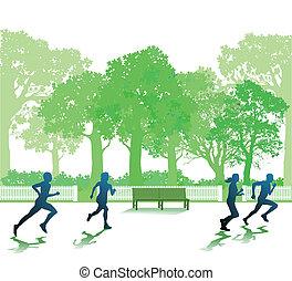 Im Park laufende Leute.