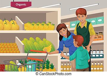 Im Supermarkt gibt es Familien-Einkaufsfrüchte.