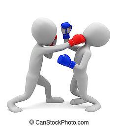 image., leute, boxing., hintergrund, klein, weißes, 3d