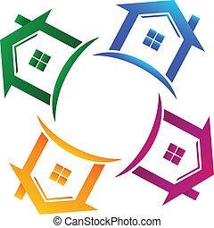 Immobilien 4 Häuser Logo.