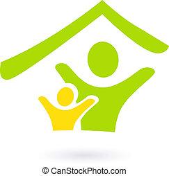 Immobilien, Familien- oder Wohltätigkeits-Ikone, isoliert auf weiß