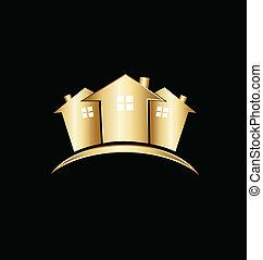 Immobilien Gold Häuser Logo.