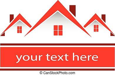 Immobilien Red Häuser Logo.