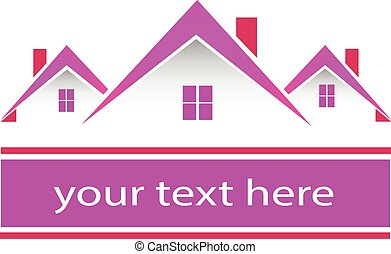 Immobilien rosa Häuser Logo.