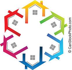 Immobilienfarbenes Logo.