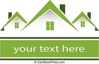 Immobiliengrün Häuser Logo.