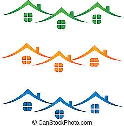 Immobilienlogo-Häuser farbenfroh.