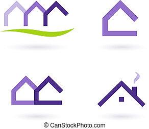 Immobilienlogo und Icons Vektor - violett und grün