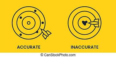 imprecision, gelber , präzision, banner., schlagen, vektor, target., antonyms, schwarz, wohnung